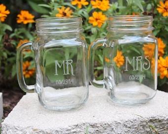 2 Laser Engraved Mrs. & Mr. Mason Jars, Wedding Gift