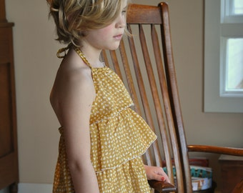 Girls halter top - Girls yellow floral blouse - 18 Months to 12 years