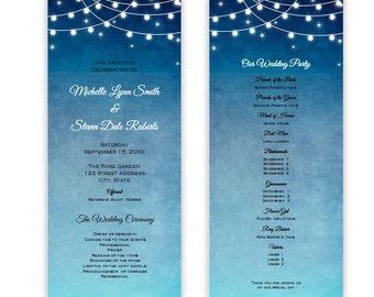 Lights at Night Tea Length Wedding Program, DIY Printable Program, Editable Template, Instant Download, Evening Wedding, Microsoft Word File