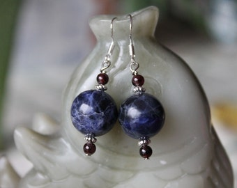 Dark Blue Round Sodalite Earrings, sterling silver hook