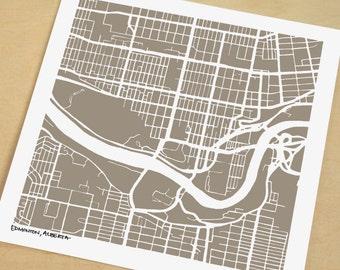 Edmonton Map, Hand-Drawn Map Print of Edmonton Alberta