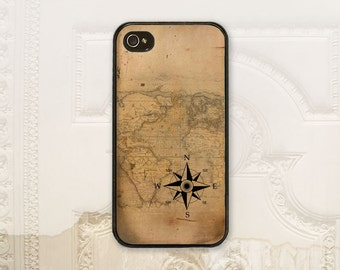 Vintage Compass & map cell phone case iPhone 4 4S 5 5s 5C 6 6+ Plus, Samsung Galaxy s3 s4 s5 s6 Nautical Gift for him tough case M6101