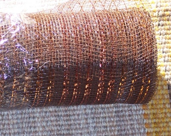 Brown Mesh ribbon with bronze tinsel strips for fall crafting,18 inch wide,15ft rolls,Fall,Thanksgiving,bows,wreaths,crafts
