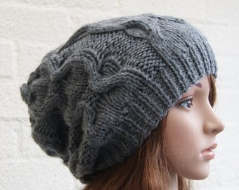 Chunky knit cable beanie in School Grey /Slouchy Beanie/ Knitted hat/Beanie hat