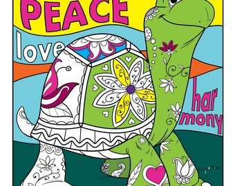 Turtle Coloring Page Tattoed Zendoodle Ready For His Digital Download