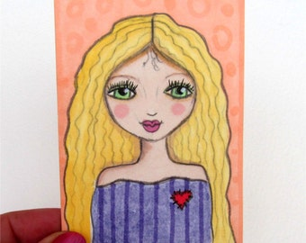 ACEO Original, Whimsical Girl Art, Cute Girl ACEO, Original Painting