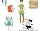 Clip Art, Digital Illustrations, Drawings, High Res, Royalty Free, Neverland