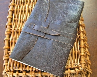 Distressed Leather Journal with longstitch binding and printed paper