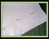 Vintage Embroidered Linen White on White Cutwork Table Scarf