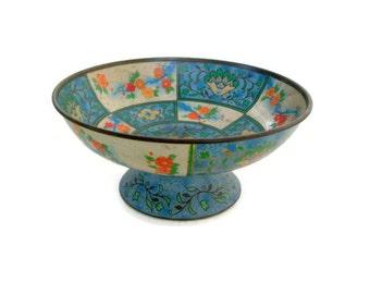 Vintage Baret Ware Tin Bowl Canton Compote No. 36 Shabby Chic Decor Pedestal Bowl Candy Dish Asian Theme, Lotus Flowers