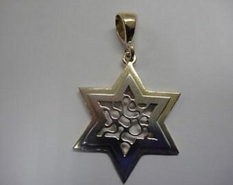 Star of David Pendant, 14K Yellow Gold Pendant, 14K White Gold Pendant Judaica Magen David
