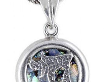 "Exclusive 925 Sterling Silver Pendant, Ancient Roman Glass Pendant ""CHAI"" Judaica, Unique Jewelry"