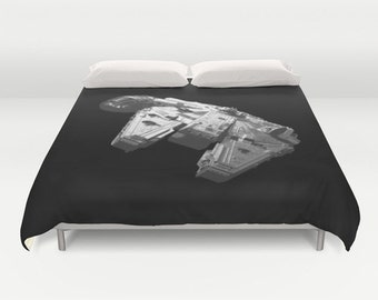 Star Wars Millennium Falcon Black and White Duvet Cover