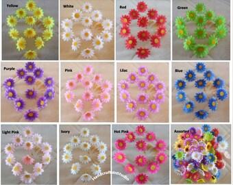 Silk Gerbera Daisy Mini Flower Heads 100pcs/lot DIY Crafts Artificial Flower Head For Hair Clips Wedding Party Decoration Wholesale Lots