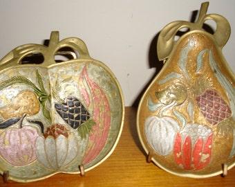 Vintage Brass Hand Painted Apple, Vintage Hand Painted Pear, Vintage Metal Trinket Trays, Vintage Brass Apple, Vintage Brass Pear