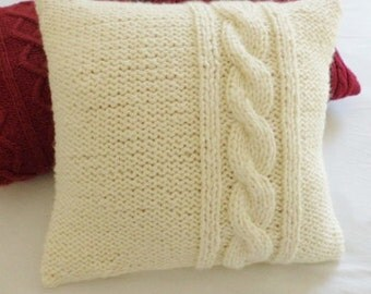 Decorative Chunky Cream Pillow Throw Pillow Off White 18x18 Pillow Case Thick Yarn Hand Knit Pillow. image number 76 of knit pillow pattern free cable ... & Knit Pillow Pattern Free Cable \u0026 Cable Knit Pillow Cover Made In ... pillowsntoast.com