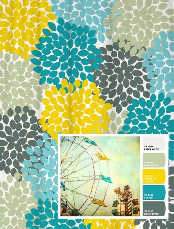 yellow and blue shower curtain. Shower Curtain in Yellow Blue Gray Floral Standard and Extra Long Lengths  70 74 78 84 88 Let s make one your colors
