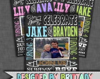 Double Birthday Invitation, Twins, Birthday Party, Invite, First, 1st, 2nd, 3rd, 4th, 5th, 6th, 7th, 8th, 9th, 10th | digital file only!