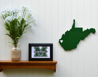 """Marshall Thundering Herd """"State Heart"""" wall art, handcrafted wood with official team colors"""