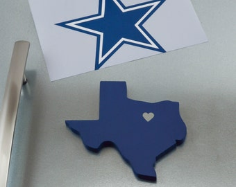 "Dallas Cowboys ""State Heart"" Magnet, handcrafted wood with official team colors"