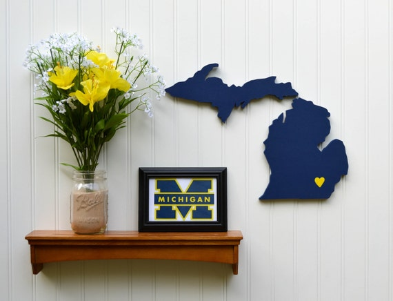"""Michigan Wolverines """"State Heart"""" wall art, handcrafted wood featuring official team colors"""