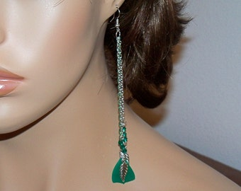 Extra Long Green Chainmaille Earrings with Green Feathers.