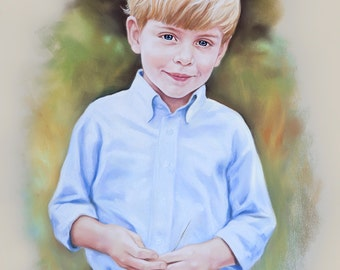 Portrait  pastel painting of a boy (half figure)