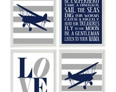 Airplane Nursery Art - Navy Blue Gray Stripes Boy Room Aviation Flying - Boy Rules LOVE - Baby Boy Nursery Toddler Big Boy Room Wall Art