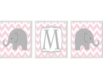 Elephant Nursery Art Print Set  - Chevron Initial Personalized - Pink Gray White Decor - Modern Nursery Baby Girl Room - Wall Art Home Decor