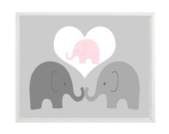 Elephant Nursery Art, Elephant Family, Mom, Dad, Baby, Baby Girl Nursery, Elephant Art Print, Nursery Decor, Pink Gray, Elephant Wall Art