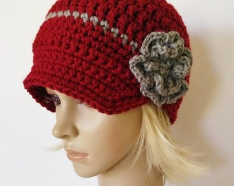 Womens crochet hat with brim, newsboy hat for women, brimmed beanie hat for women, visor beanie, crochet hat, hat with brim and flower
