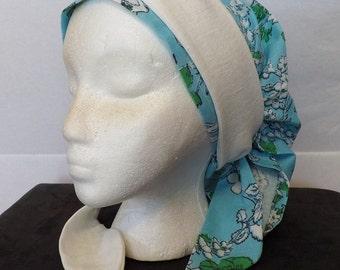241 Little White Flower on Blue 100% Linen Long Head Band Scarf