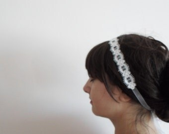 Ivory Lace Headband, Lace Wedding Headband, Bridal hair, Bridesmaid Headpiece, organza ribbon Hair Accessory