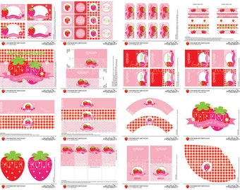 Strawberry Birthday Party, Digital, DIY, Printable, INSTANT DOWNLOAD