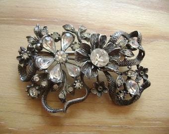 vintage coro rhinestone flower brooch
