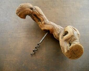 Vintage bottle opener Grape vine roots corkscrew Handmade kitchen utensil 60s Gift for him