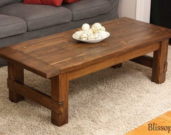 Handmade Wood Coffee Table, Farmhouse Coffee Table
