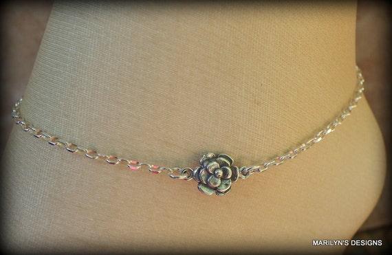 Sterling silver anklet, handmade, rose bracelet, summer jewelry, wedding jewelry, high heel jewelry
