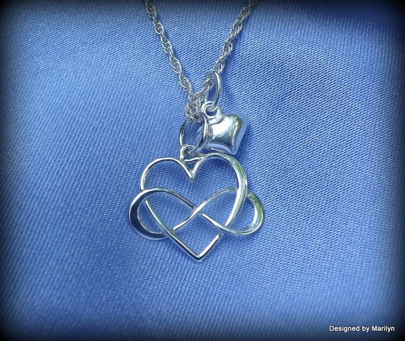 Sterling silver infinity necklace, infinity heart necklace, Celtic heart necklace, love forever jewelry