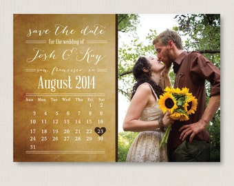 Calendar save the date. Rustic and modern wedding announcement, available as a postcard. Completely customizable and printable. #09