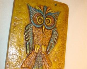 Vintage Ceramic Owl Plaque Wall Art Hanging