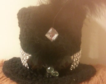 Crochet mini top hat