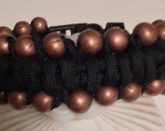 Bronze metal beads black Paracord bracelet
