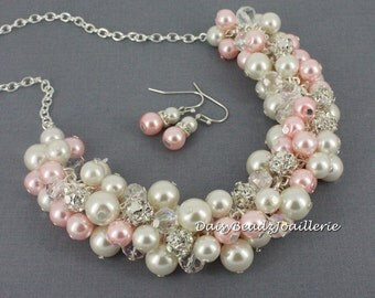 Pearl Cluster Necklace, Pink Pearl Necklace, Pink and Ivory Necklace, Chunky Necklace, Bridesmaids Necklace, Blush Pink Necklace