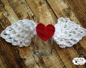 CROCHET PATTERN  Angel Wings -White Angel Wings, Wings, Angel, Red Heart, Newborn, Crocodile Stitch Wings, Photo Prop Boy. Girl