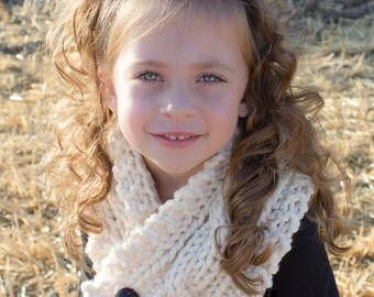 KNIT PATTERN -  Cabled Knit Cowl, Cabled, Knit, Hand Knit, Buttoned Cowl, Adult, Child, Cream, Scarf, Pattern, Cabled Pattern,
