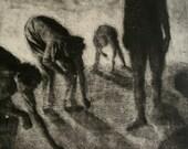 "Haunting Figure Print Dark Creepy Shadows Spooky Hand Pulled Intaglio Fine Art Aquatint ""Gathering"""