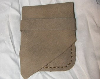 Hand Sewn Olive Green Leather Cell Phone Bag Case by Heidi Clauson