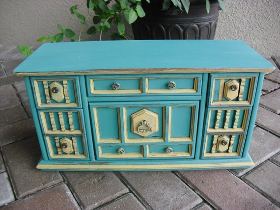 Extra large vintage turquoise and yellow solid wood jewelry for Solid wood jewelry chest