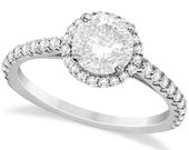 Halo Diamond Engagement Ring with Side Stone Accents 14K White Gold (1.50ct)